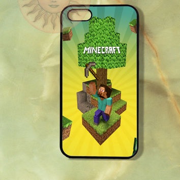 Minecraft iPhone 5, 5s, 5c, 4s, 4, ipod touch 4, 5, Samsung GS3 GS4-Silicone Rubber, Hard Plastic cover