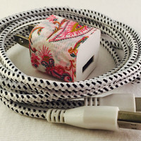 Iphone 5 & 6 charger cord, wall plug included, iphone 5, iphone 6, usb cable, sync cord, iphones, braided nylon, gifts, birthday, car charge