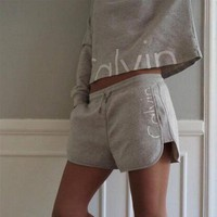 Calvin Klein Print Top Shirt Shorts Set Two-Piece