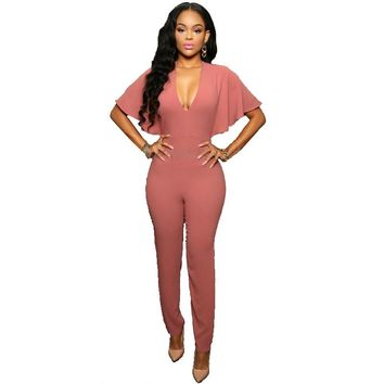 Women Jumpsuit Solid Color Sexy Deep V Neck Backless Hollow Out Casual Long Pant Jumpsuits