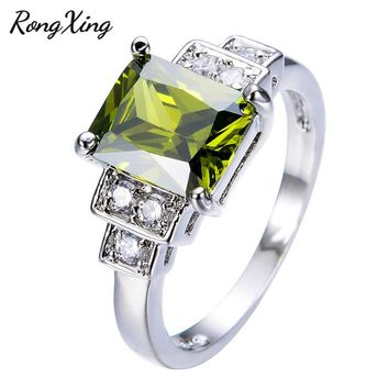 RongXing New Vintage Jewelry Noble Peridot White Zircon Wedding Ring For Women/Men Gold Filled Engagement Promise Rings RW0242