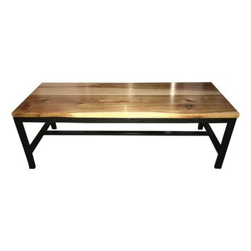 Pre-owned Reclaimed Hickory Wood Top Coffee Table