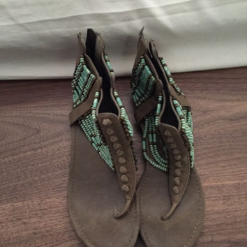 Turquoise Beaded Sandals (Small/Indie Brands)