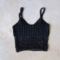 Black Crochet Knit Shell Top Sleeveless Knit Open Sweater Top Vintage Cropped Woven Tank Top Sexy Sheer Black Bra Top DES Small Medium