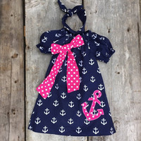Navy & Pink Anchor Dress & Headband Set
