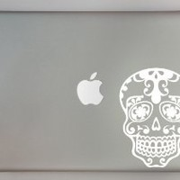 "White Sugar Skull 13"" Macbook Laptop Decal"