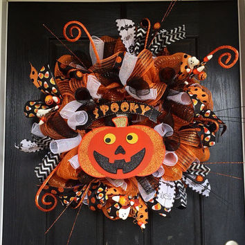 Spooky pumpkin deco mesh wreath, Halloween deco mesh wreath, fall wreath, front door wreath