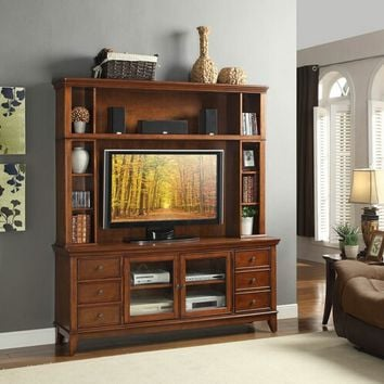 2 pc culbert collection warm cherry finish wood TV entertainment center TV stand with top unit