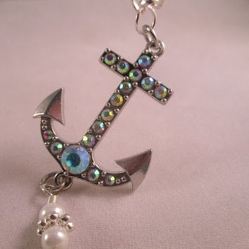 Anchor Necklace Beach Necklace Silver Necklace Ocean Jewelry