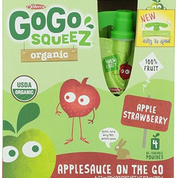 GoGo Squeez Organic Apple Applesauce On The Go, Strawberry, 4 ct