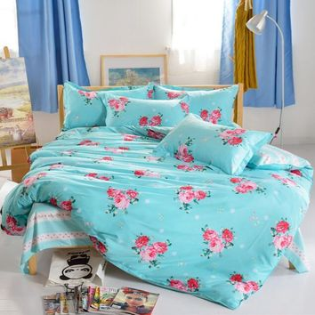 2016 4pcs Bedding set Family Soft Cotton Bedding Set Bed Sheets Pillow Quilt Duvet Cover King Size BedClothes No Comforter
