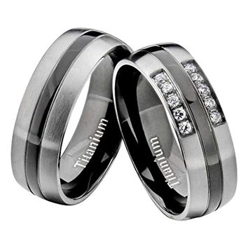 CERTIFIED 7mm Titanium Clear Round Cubic Zirconia His Hers Wedding Ring Sets