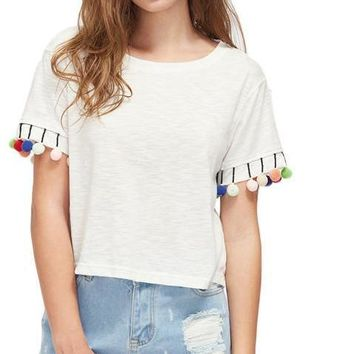 Pom Pom Trim Slub T-shirts Cute Casual White Summer Tops Women Fashion O Neck Brief Short Sleeve T-shirt