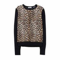 EQUIPMENT Roland Crew w Contrast Leopard Print | Wool Sweater