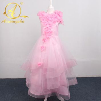 2018 New Hot Selling Custom Made Flower Girl Dresses Girls Pageant Long Sleeve Lace High Neck