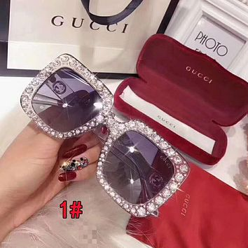 Gucci Stylish Women Personality Shiny Diamond Shades Eyeglasses Glasses Sunglasses 1#