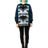 90s Aztec Print Sweater Wool Blend Teal Jumper Slouchy Boyfriend Geometric Print Knit Cosby Pullover Northwest Unisex Sweater (M/L)
