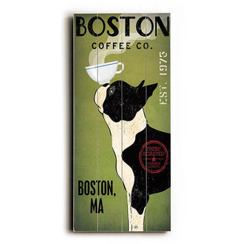 Personalized Boston Terrier Coffee by Artist Ryan Fowler Wood Sign