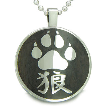 Magic Kanji Wolf Paw Courage Powers Black Wood Amulet Pendant 18 Inch Necklace