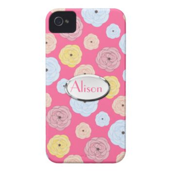 Girly Ditsy Floral Roses Pattern Personalized Name iPhone 4 Covers
