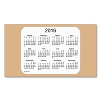 2016 Tan Calendar by Janz Business Card