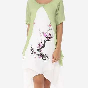 Casual Asymmetrical Hems Round Neck Linen Printed Shift-dress
