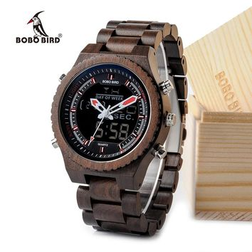 BOBO BIRD Wood Mens Digital Multifunctional Watch with Night Light and Week Display