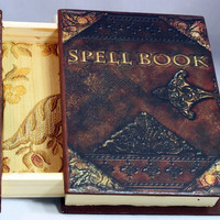 Spell Book - Book Jewelry Box - Spell Book Wooden Box - Harry Potter - Spell Book - Wooden Jewelry Box with Drawer - Spell Box Jewelry Box