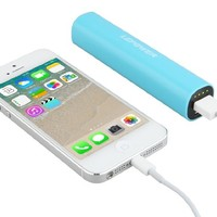 LEPOWER 2600 mAh Colorful Mini USB Portable Power Bank Charger / Backup Mobile External Battery Charger for iPhone 6 6plus 5 5S 5C and other USB-charged devices (8 pin cable/lightning cable is not included) (Blue)