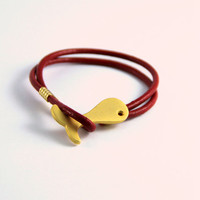 Minimalist Bracelet gold plated Fish Design with red genuine leather cord