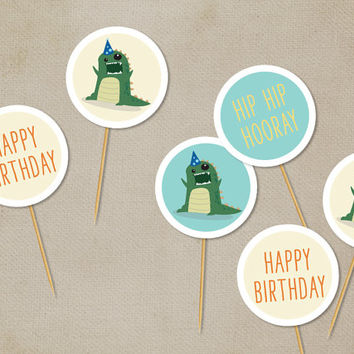 Printable Cupcake Toppers: Dinosaur [Instant Download]