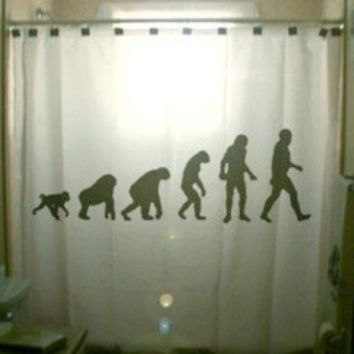 Theory of Evolution SHOWER CURTAIN Charles by CustomShowerCurtains