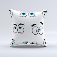 Crazy Eyes Ink-Fuzed Decorative Throw Pillow
