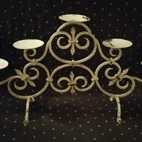 French Country Wrought-iron Fleur-de-lis Candle Stand Shabby Chic