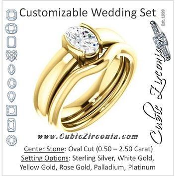 CZ Wedding Set, featuring The Charlotte engagement ring (Customizable Bezel-set Oval Cut Solitaire with Thick Band)
