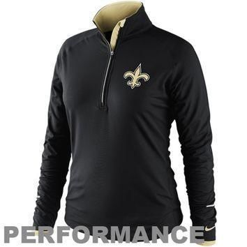 nike new orleans saints women s conversion half zip performance jacket black