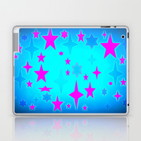 Turquoise Blue & Hot Pink Retro Atomic Stars Laptop & iPad Skin by 2sweet4words Designs | Society6