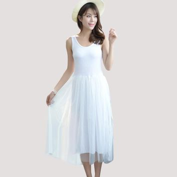 New Modal Cotton Vest Dress Slim Loose Casual A-Line Lace Mesh Summer Women Dress Fashion Sleeveless Bottoming Dress YP0011