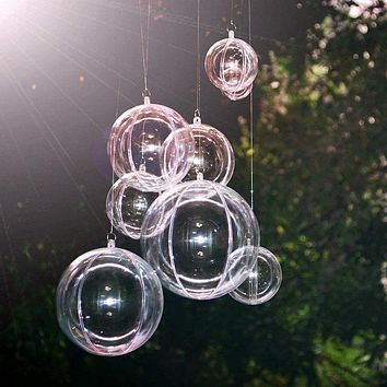 20 pcs Clear Acrylic Craft Balls/ 2 Part Sphere Hanging Decor