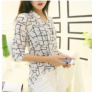 Summer Women Long-sleeve Print Chiffon Shirts Slim Blouses Shirts