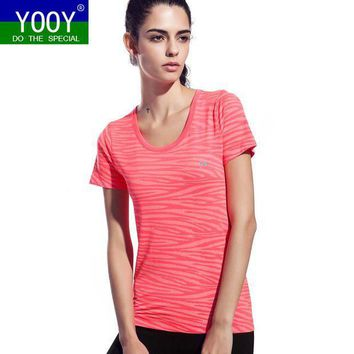 CREYLD1 Women Zebra Pattern Shirts Sport Fitness Yoga Short Sleeve T Shirt Ladies Running Loose T-Shirt Quick Dry Tees Tops gym Clothing