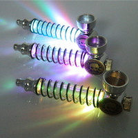 1PC Spring Pipe Colorful LED Flash Light Metal Smoking Creative Portable Gift Sm