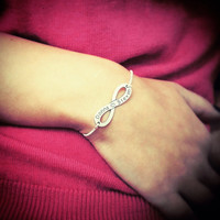 925 Sterling Silver infinity bracelet with yours and your lover name