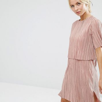 ASOS Double Layer T-Shirt Dress In Plisse at asos.com