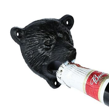 Retro Creative Iron Bear Head Shaped Design Wall Hanging Bottle Opener Coke Beer Glass Bottle Cap Opener Bar Kitchen Tools