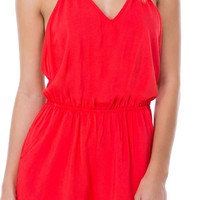Red Halter Backless Romper