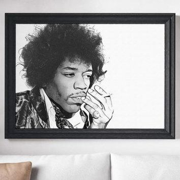 Jimi Hendrix Poster Rock n Roll Painting Print Canvas Print Music Poster Canvas Poster Design Wall Art Home Gift Poster Home Rock Art Poster