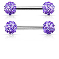Crystal Paved Ferido Balls Nipple Bars Barbells Rings - 14G 316L Stainless Steel - Sold as a Pair (Purple)
