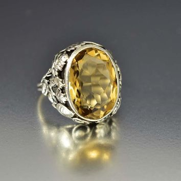 Antique Silver Arts and Crafts Huge Citrine Ring
