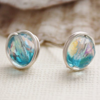 Stud earrings aqua blue/ crystal Czech glass ab by collscreations